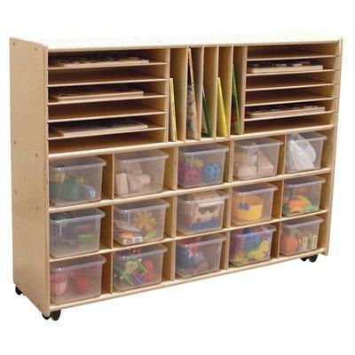 Contender Multi-Storage with (15) Translucent Trays - Assembled with Casters