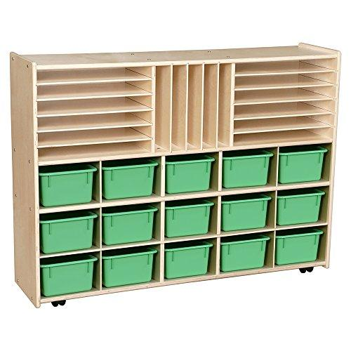 Contender Multi-Storage with Lime Green Trays - Assembled with Casters