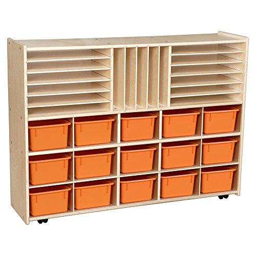 Contender Multi-Storage with Orange Trays - Assembled with Casters