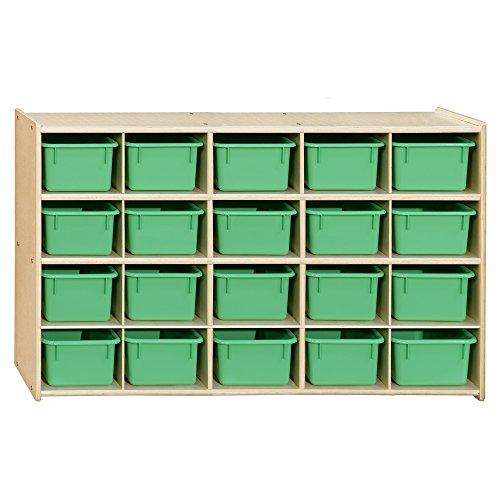 Contender 20 Tray Storage with Lime Green Trays - Assembled
