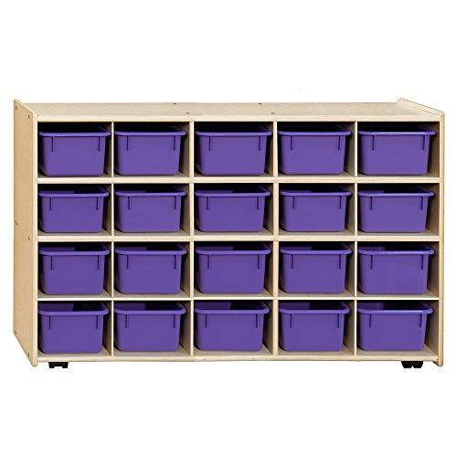 Contender Mobile 20 Tray Storage with Purple Trays - Assembled with Casters