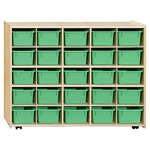Contender  Mobile 25 Tray Storage with Lime Green Trays - Assembled with Casters
