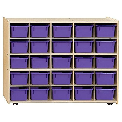 Contender  Mobile 25 Tray Storage with Purple Trays - Assembled with Casters