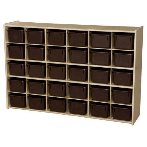 Contender? Baltic Birch 30-Cubby Single Storage Unit w/ Chocolate Tubs - RTA