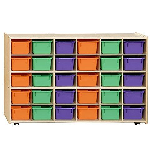 Contender Mobile 30 Tray Storage with Assorted Pastel Trays - Assembled with Casters