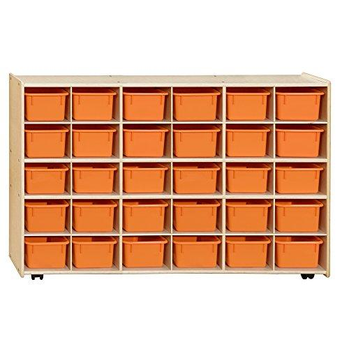 Contender  Mobile 30 Tray Storage with Orange Trays - Assembled with Casters