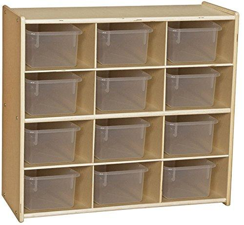 Contender? Baltic Birch 12-Cubby Storage Unit w/ Clear Tubs - Assembled
