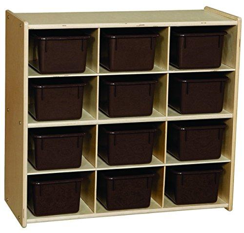 Contender Baltic Birch 12-Cubby Storage Unit w/ Chocolate Tubs - Assembled