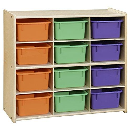 Contender? Baltic Birch 12-Cubby Storage Unit w/ Assorted Pastel Trays - Assembled