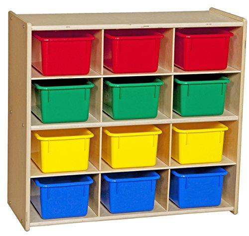 Contender Baltic Birch 12-Cubby Storage Unit w/ Colorful Tubs - Assembled [Item # C16123F]
