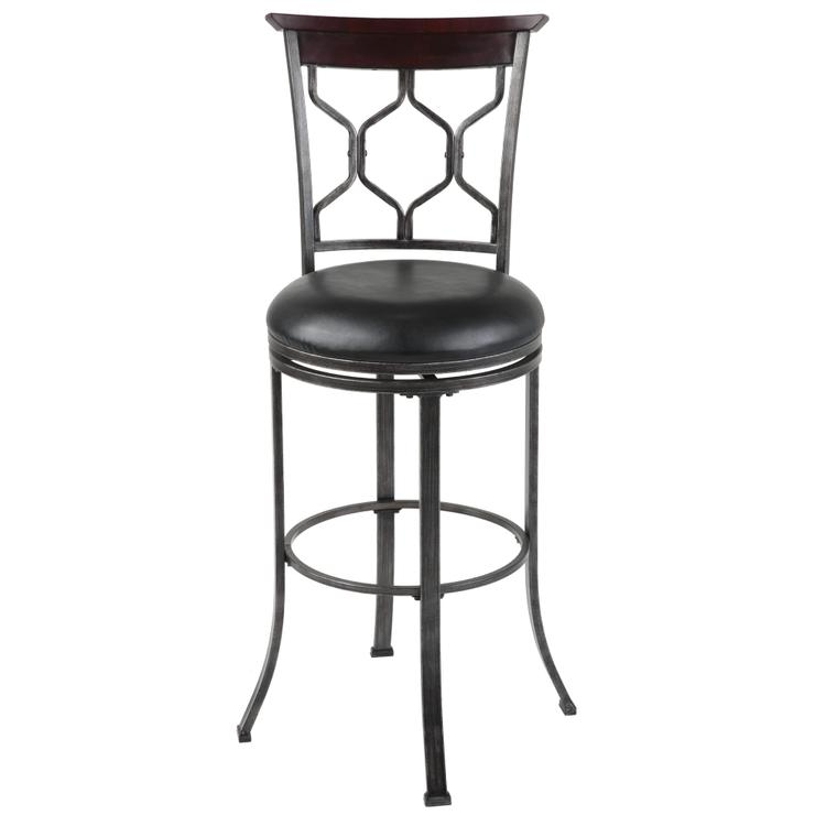 Tallahassee Metal Barstool with Black Upholstered Swivel-Seat and Heritage Silver Frame Finish