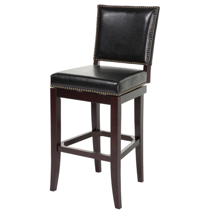 Sacramento Wood Barstool with Black Upholstered Nail head Trim Swivel-Seat and Espresso Frame Finish