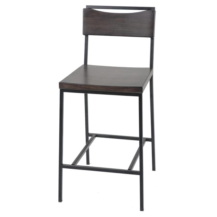 Columbus Metal Barstool with Black Cherry Wooden Seat and Matte Black Frame Finish