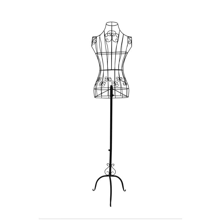 Benzara Wire Frame Metal Mannequin Display Stand With Adjustable Height,  Black
