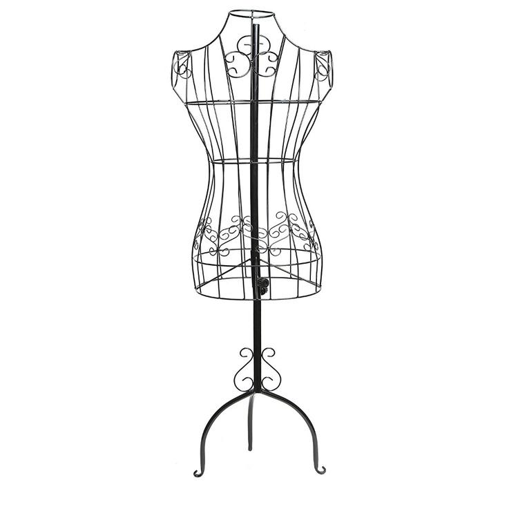 Wire Frame Metal Mannequin Display Stand With Adjustable Height,  Black