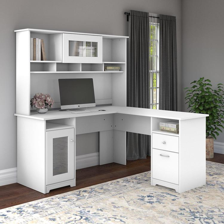 Bush Furniture Cabot 60W L Shaped Computer Desk with Hutch in White