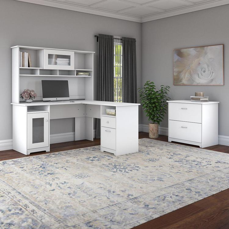 Bush Furniture Cabot 60W L Shaped Computer Desk with Hutch and Lateral File Cabinet in White