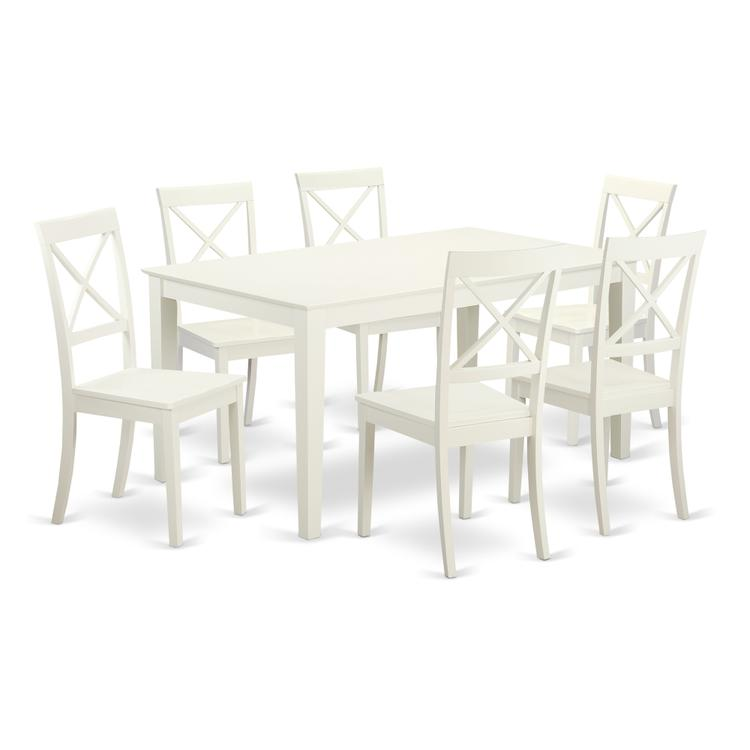 East West Furniture CABO7-LWH-W 7 Piece dining table set for 6- Dining table and 6 Wood seat dining chairs [Item # CABO7-LWH-W]