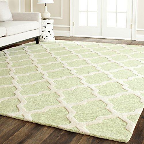 Contemporary Rug - Cambridge Wool Pile -Light Green/Ivory