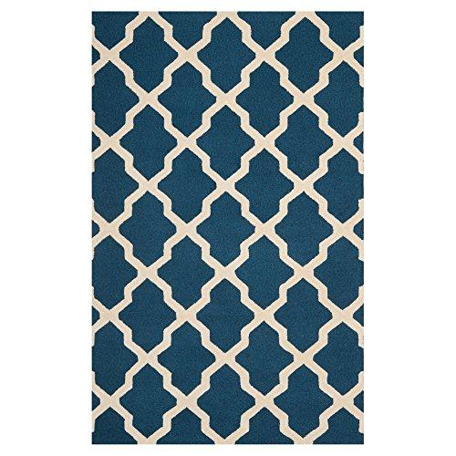 Contemporary Rug - Cambridge Wool Pile -Navy Blue/Ivory Style-A