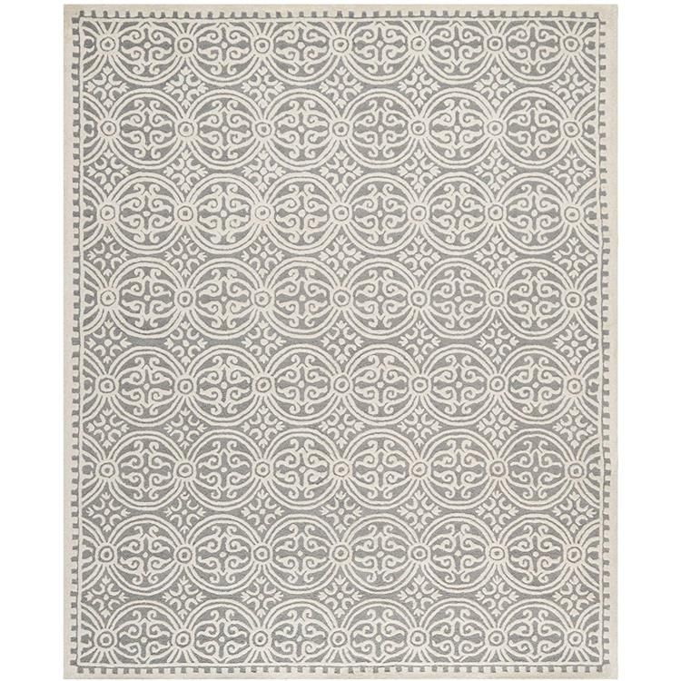 Contemporary Rug - Cambridge Wool Pile -Silver/Ivory Style-B