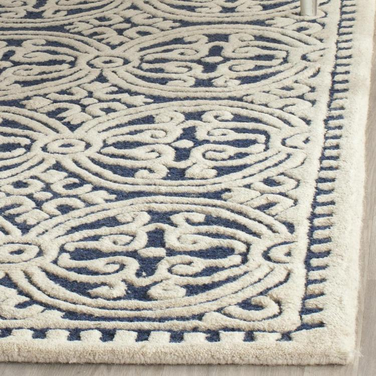 Contemporary Rug - Cambridge Wool Pile -Navy Blue/Ivory