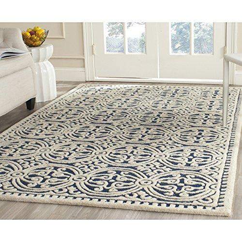 Contemporary Rug - Cambridge Wool Pile -Navy Blue/Ivory Style-B