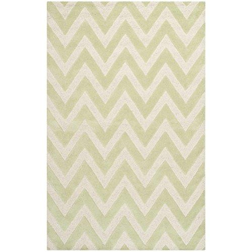 Contemporary Rug - Cambridge Wool Pile -Light Green/Ivory