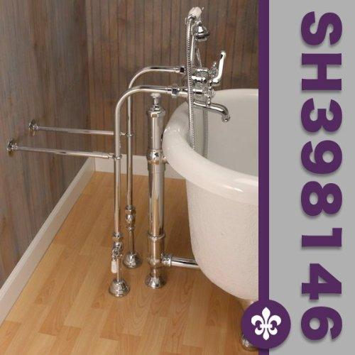 Clawfoot Tub Freestanding British Telephone Faucet & Hand Held Shower Combo-Polished Chrome
