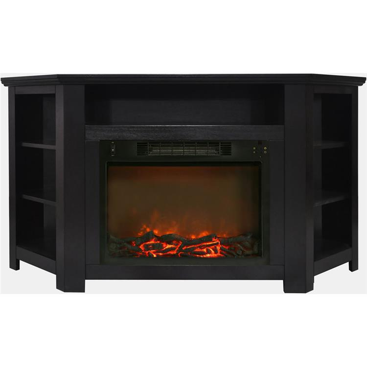 Cambridge Stratford 56 In. Electric Corner Fireplace in Black Coffee with 1500W Fireplace Insert [Item # CAMFPMCAM5630-1COF]