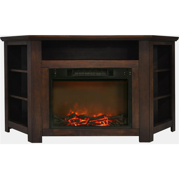 Cambridge Stratford 56 In. Electric Corner Fireplace in Walnut with 1500W Fireplace Insert [Item # CAMFPMCAM5630-1WAL]