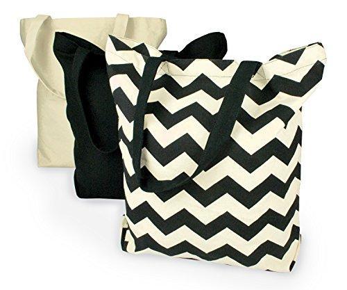 Black Chevron Canvas Bags Set/3