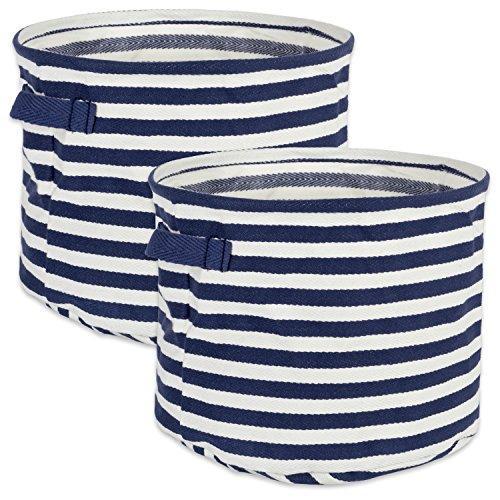 Design Imports Coated Herringbone Woven Cotton Laundry Bin Stripe French Blue Round Large 14X14X12 Set Of 2