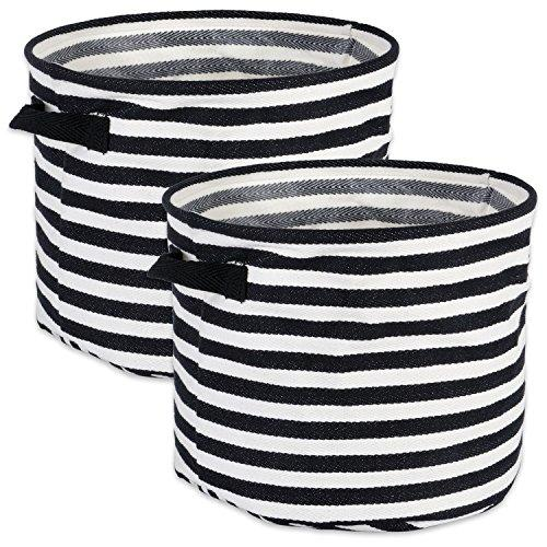 Design Imports Coated Herringbone Woven Cotton Laundry Bin Stripe Black Round Large 14X14X12 Set Of 2