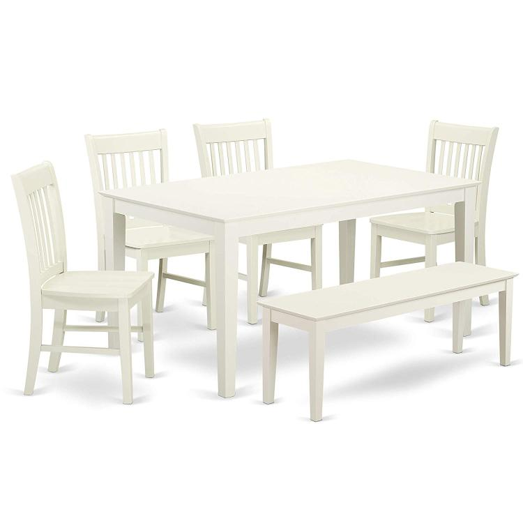 CANO6-LWH-W 6 Piece dining for 6-Dining room table and 4 Wood Seat Chairs and 1 Benches in Linen White