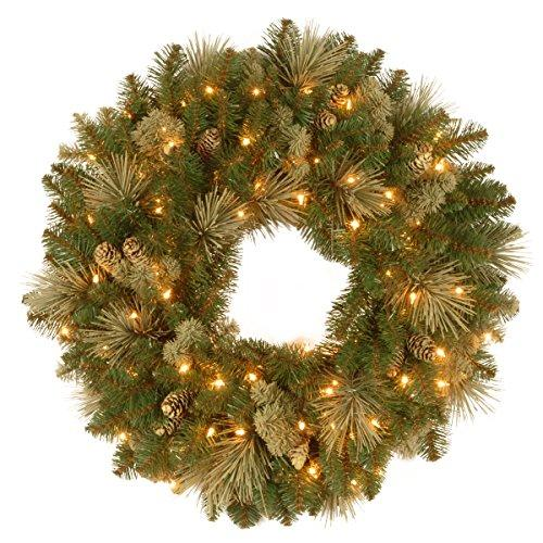 National Tree Carolina Pine Wreath with Battery Operated LED Lights
