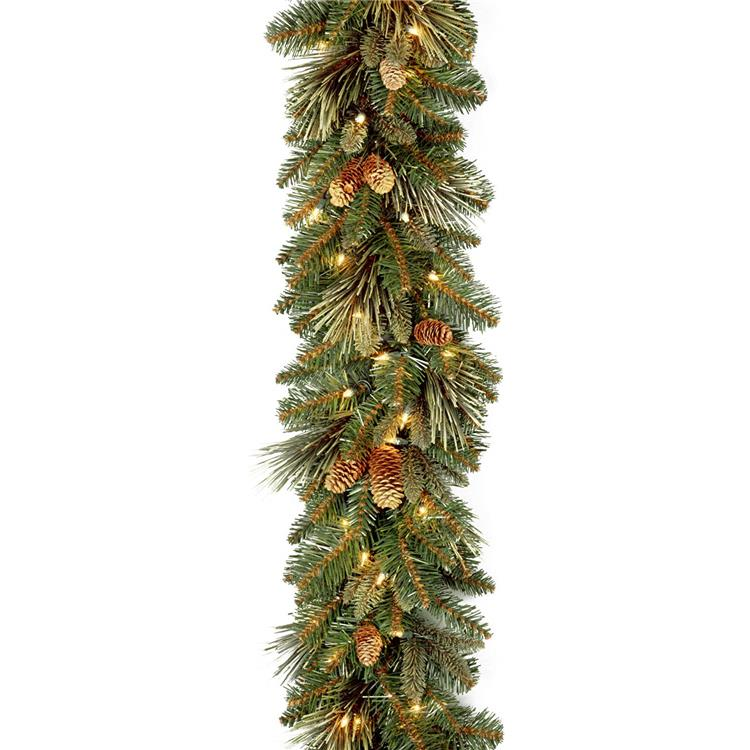 National Tree 9 Foot by 10 Inch Carolina Pine Garland with Flocked Cones and 100 Battery Operated LED Lights [Item # CAP3-306-9A-B1]