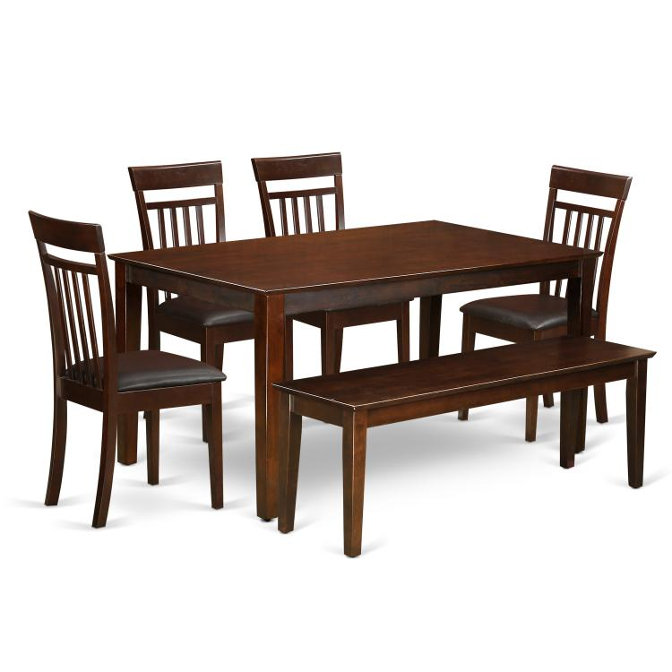 East West Furniture CAP6S-MAH-LC 5 Pc Dining room set for 6 set - Dining Table and 4 Dining Chairs Plus one bench.