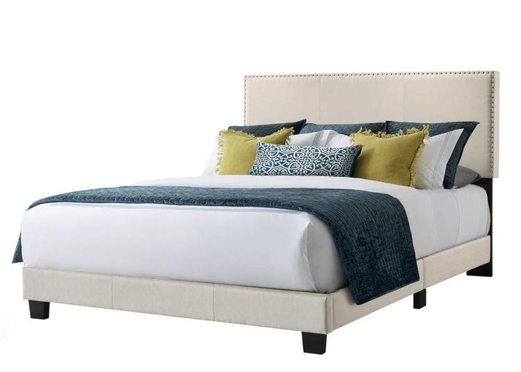 Belle Isle Furniture Royale Beige Linen Upholstered Bed