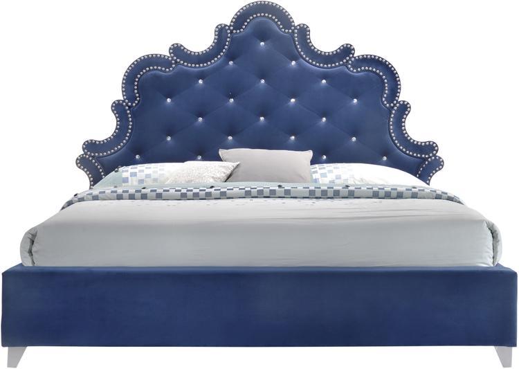 Caroline Navy Velvet Queen Bed