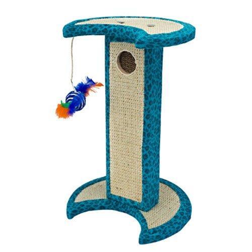Penn-Plax - Blue Crescent Leopard Cat Scratching Tower W/Corrugated Reful