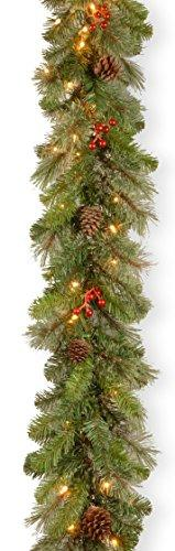 National Tree Cashmere Berry Garland with Clear Lights