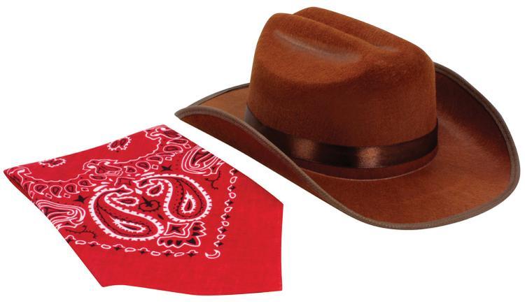 Aeromax Jr. Cowboy Hat (Brown) with Bandanna