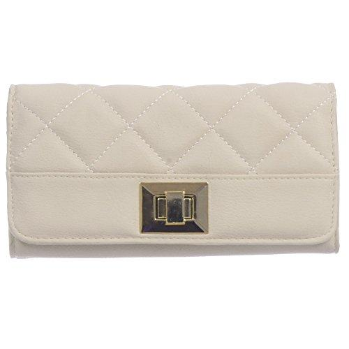 Nicci Clutch with Quiliting and Turnlock Closure Beige