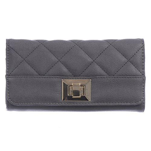 Nicci Clutch with Quiliting and Turnlock Closure Grey