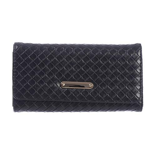 Nicci Clutch with Woven Design Detail Black