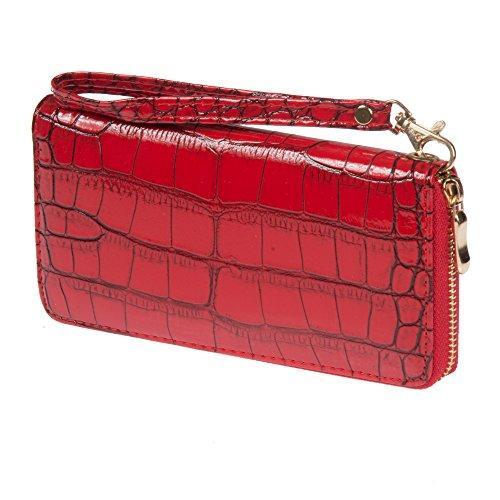 Nicci Faux Croc Zipper Round Clutch Red