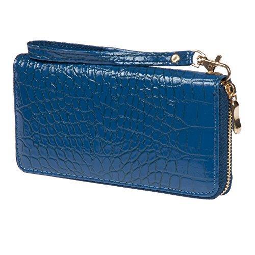 Nicci Faux Croc Zipper Round Clutch Blue