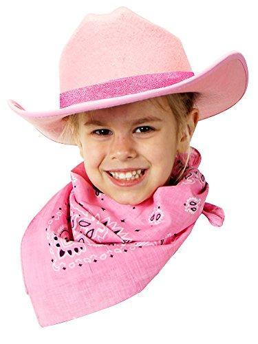 Jr. Cowboy Hat (Pink) Sparkle Ribbon with Bandanna