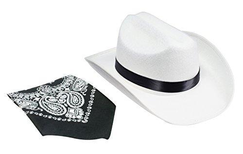 Jr. Cowboy Hat (White) with Bandanna